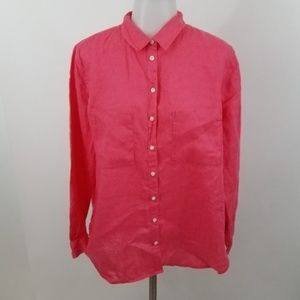 Boden button down womens 100% linen pink long slee